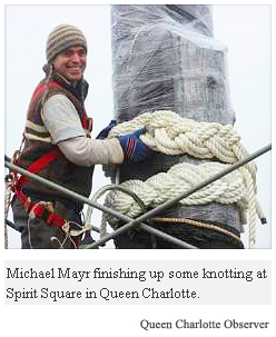 Michale Mayr finsihing up some knotting - Sprit Square, Queen Charlotte
